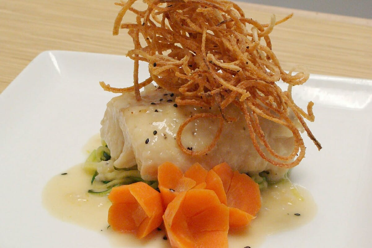 Sake Poached Cod with Curly Potatoes