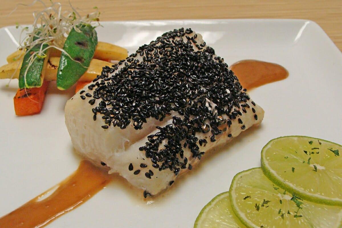 Crusted Black Sesame Seared Sea Bass