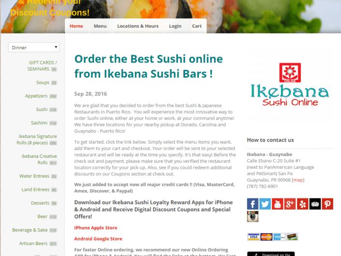 Ikebana Sushi Online Ordering App Dorado Carolina Guaynabo